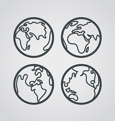 Earth web icons collection round lineart design vector