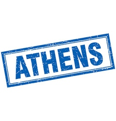 Athens blue square grunge stamp on white vector image