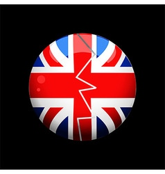 Broken british sphere over black background vector