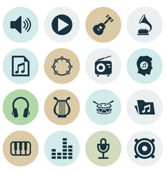 Audio icons set collection of dossier file vector
