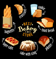 bakery shop icons baked bread products vector image vector image