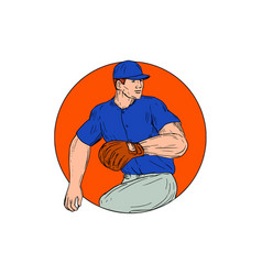 baseball pitcher ready to throw ball circle vector image vector image