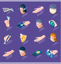 Biometric authentication isometric icons vector