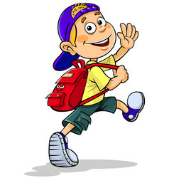 Boy going to school vector