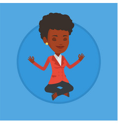 Businesswoman meditating in lotus position vector