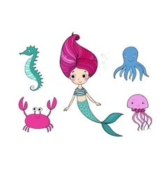Cute cartoon mermaid funny crab jellyfish vector
