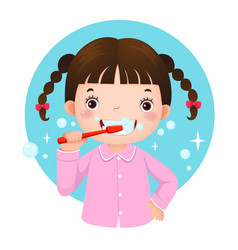cute girl brushing her teeth vector image vector image