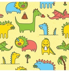 Dino seamless pattern yellow vector image