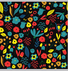 hand drawn floral pattern colorful vector image vector image