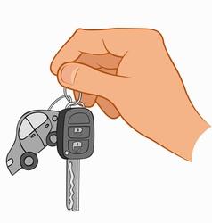 Hand holding car keys vector
