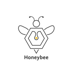 honeybee like thin line logo vector image