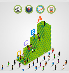 isometric pyramid money with people vector image vector image