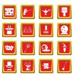 Magic icons set red vector