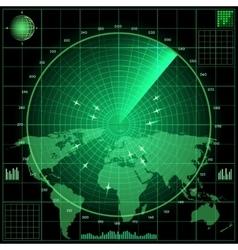 Radar screen with planes vector