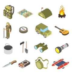 Set Of Hiking and Camping Icons vector image