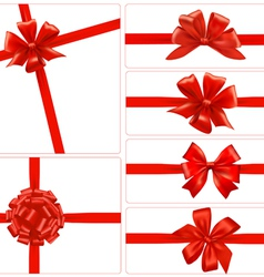 set of red gift bows with ribbons vector image vector image
