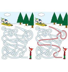 sledding maze vector image vector image