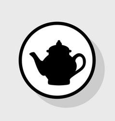 Tea maker sign flat black icon in white vector