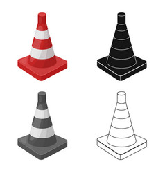 Traffic cone icon in cartoon style isolated on vector