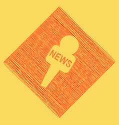 Tv news microphone sign red vector