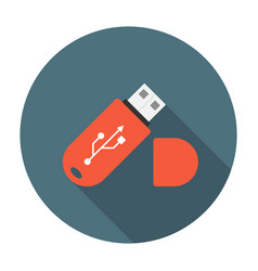 USB flash drive flat icon vector image vector image