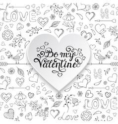 Valentines card with heartsbirdsflowers vector image vector image