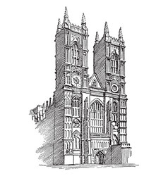 westminster abbey or gothic architecture vintage vector image vector image