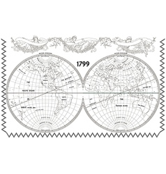 World globe map with nymphs white vector image vector image