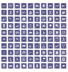 100 globe icons set grunge sapphire vector