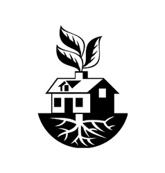 House with roots and leaves sprout vector