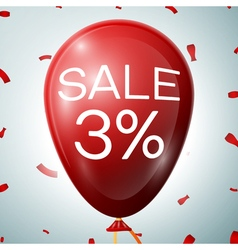 Red baloon with 3 percent discounts sale concept vector