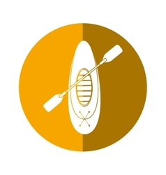 Kayaking board oar recreation camping button vector