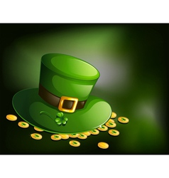 A green hat with a clover plant and coins vector