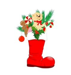 Red christmas boot vector