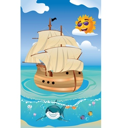 Wooden ship in the sea vector