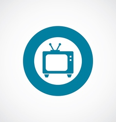 Tv icon bold blue circle border vector