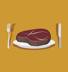 Beef steak cutlery knife and fork vector