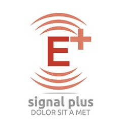 Logo signal letter e plus red alphabet wireless vector