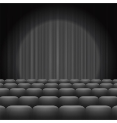 Grey curtains with spotlight and seats vector