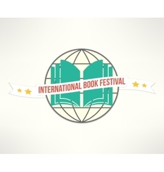 Book festival sign and logo in simple and vector