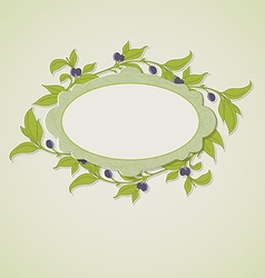 Green olive branches and label vector