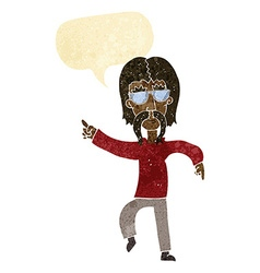 Cartoon hippie man wearing glasses with speech vector