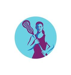 Female Lacrosse Player Stick Circle Retro vector image
