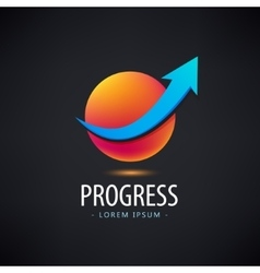 Progress logo growth financial and vector