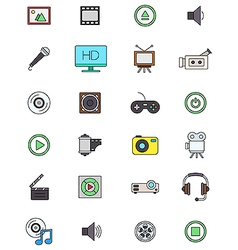 Color multimedia icons set vector