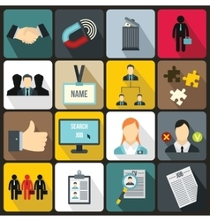 Human resource management icons set vector