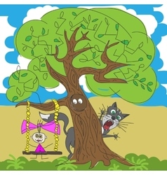 A girl and cat under tree vector