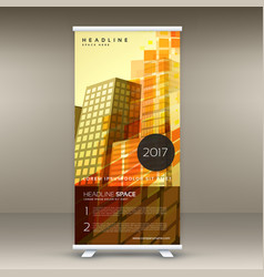 abstract yellow standee roll up banner design in vector image vector image