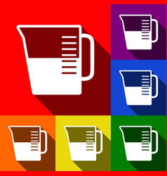 Beaker sign set of icons with flat vector
