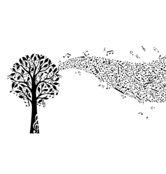 Black music tree isolated on white background vector